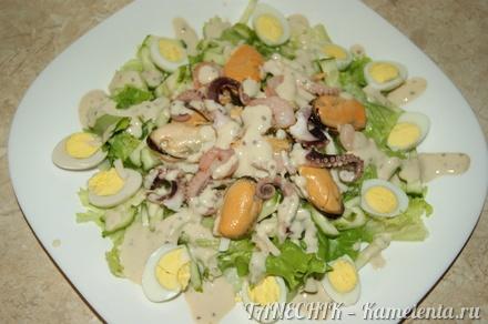 Приготовление рецепта Салат с морепродуктами шаг 10