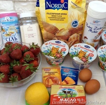 Приготовление рецепта Летний клубничный торт шаг 1