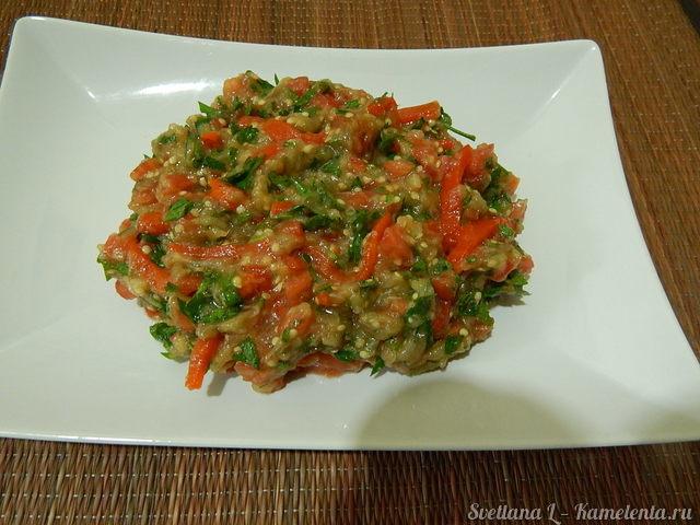рецепт салата из баклажанов с фасолью