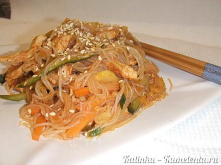 Приготовление рецепта Фунчоза с куриным филе и овощами шаг 17