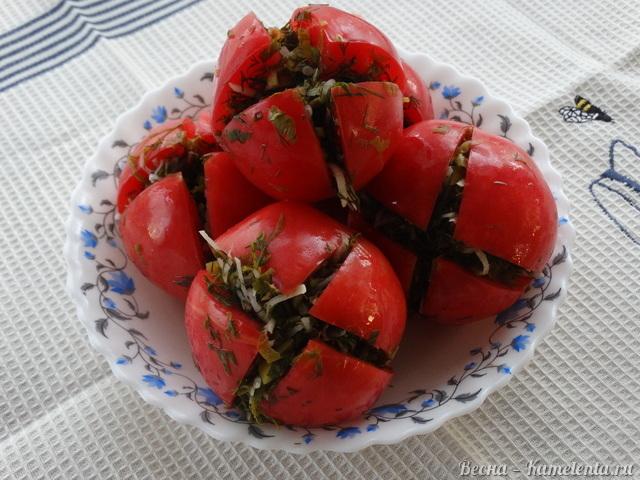 Рецепт малосольных помидоров с зеленью