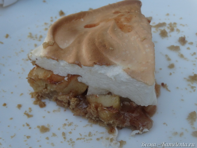 Рецепт пирога с карамельными яблоками и меренгой