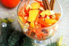 Салат-десерт из апельсина, яблока и моркови