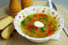 Суп с пшеном и зеленой фасолью
