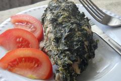 Куриная грудка в зелёной шубке