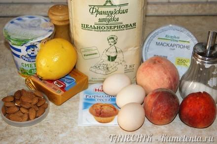Приготовление рецепта Пирог с маскарпоне и персиками шаг 1