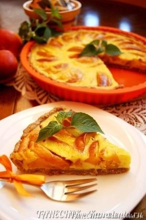 Приготовление рецепта Пирог с маскарпоне и персиками шаг 12