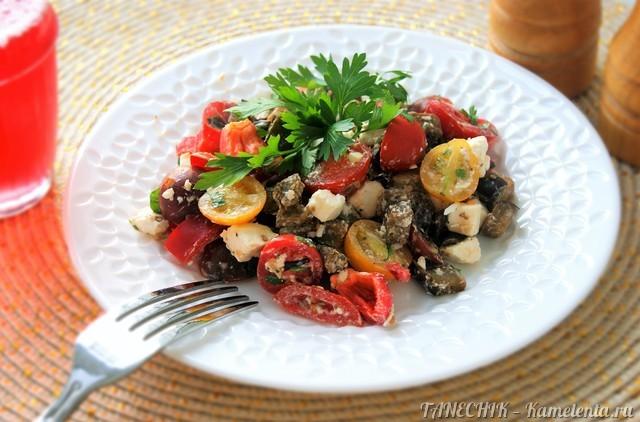 Рецепт салата с баклажанами и брынзой