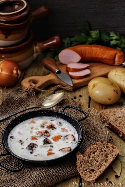 Рецепт немецкого картофельного супа с жареными колбасками