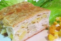 Быстрый пирог с курицей и картофелем