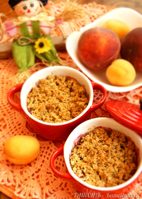 Рецепт крамбла с овсяными хлопьями и фруктово-ягодным миксом
