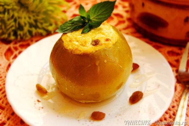 Рецепт яблок, запеченных с творогом