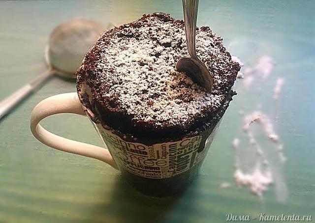 """Рецепт шоколадного кекса в чашке """"за 3 минуты"""""""