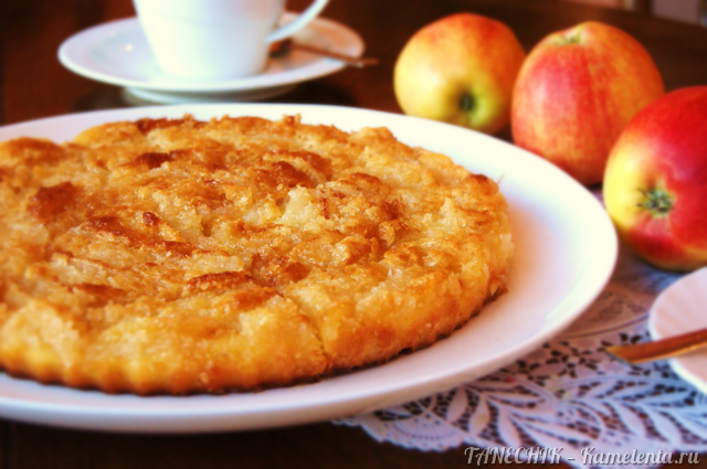 Рецепт творожного пирога с яблоками и кокосовой карамелью